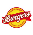 vintage burgers sign lettering stamp vector image vector image