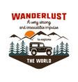 wanderlust logo emblem vintage hand drawn travel vector image vector image