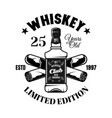 whiskey bottle and crossed cigars emblem vector image vector image