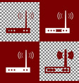 wifi modem sign bordo and white icons and vector image