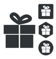 Gift icon set monochrome vector image