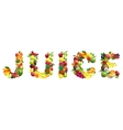 Word JUICE composed of different fruits with vector image