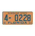 Florida1953 license plate vector image