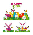 happy easter poster decoration rabbit eggs vector image