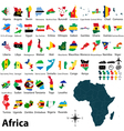 Maps with flags of Africa vector image