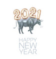2021 numbers in chinese style with ox happy new vector image vector image