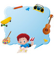 border template with boy and school objects vector image vector image