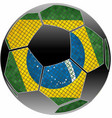brazilian flag with soccer ball background vector image