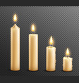 burning candles realistic transparent background vector image vector image
