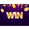 celebration win on falling down coin vector image vector image