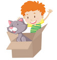 children play with cat in the box vector image