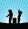 children with travel bag silhouette vector image
