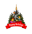 christmas tree with gift and bell greeting card vector image vector image