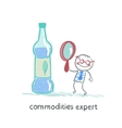 commodities expert with a magnifying glass looking vector image vector image