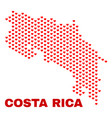 costa rica map - mosaic of valentine hearts vector image vector image