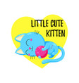 cute cartoon kitten playing with a ball vector image
