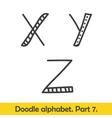 Cute hand drawn alphabet doodle letters X-Z vector image
