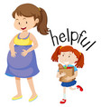 daughter helping pregnant mother vector image