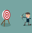 determined handsome businessman aiming at target vector image vector image