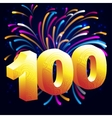 Fireworks with a gold number 100 vector image vector image