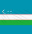 flag uzbekistan swaying in wind realistic vector image