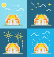 flat design 4 style thai temple thailand vector image vector image