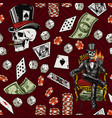 gambling vintage seamless pattern vector image vector image