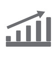 gray growing graph on white background gray vector image vector image