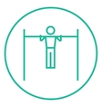 Gymnast exercising on bar line icon vector image
