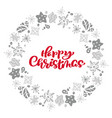 happy christmas calligraphy text in wreath vector image