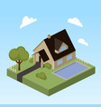 house with swimming pool isometric vector image vector image