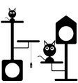 image of a kitten and a cat near the cat houses vector image