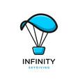 infinity parachuting logo vector image