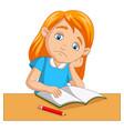 little girl bored studying homework vector image vector image