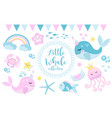 little whale unicorn set modern cartoon style vector image vector image