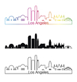 Los Angeles skyline linear style with rainbow vector image vector image