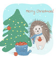 lovely hedgehog and a fir tree vector image