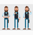 man stand speak on smartphone hold tablet vector image