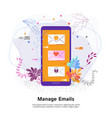manage emails concept touch screen phone with a vector image