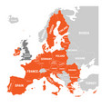 map of europe with orange highlighted eu member vector image vector image