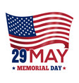 memorial day 2017 poster design with the us flag vector image vector image