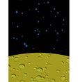 Moon landscape in space Yellow surface of planet vector image vector image