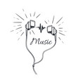 music headphones with loud sounds playing sketch vector image