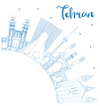 Outline Tehran Skyline with Blue Landmarks vector image vector image