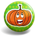 Pumpkin on the round badge vector image vector image