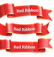 ribbons set realistic red glossy paper ribbon vector image vector image