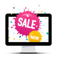 sale labels with colorful splashes on computer vector image