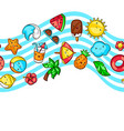 seamless pattern with summer items vector image