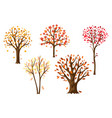 set autumn abstract stylized trees vector image