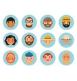 set beautiful emoticons face of people vector image vector image